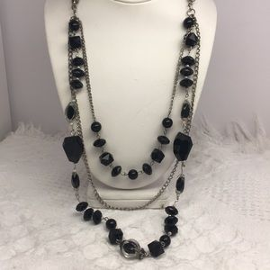 Three Layer Black Bead Chain Necklace